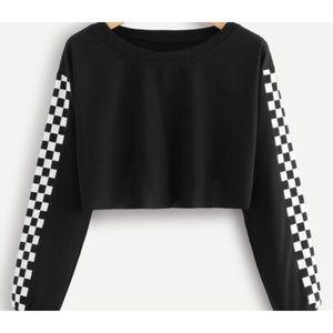 Fashion Nova Cropped Black Checkered Sleeve Top